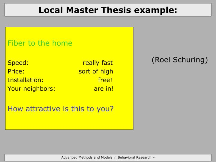 Local Master Thesis example:
