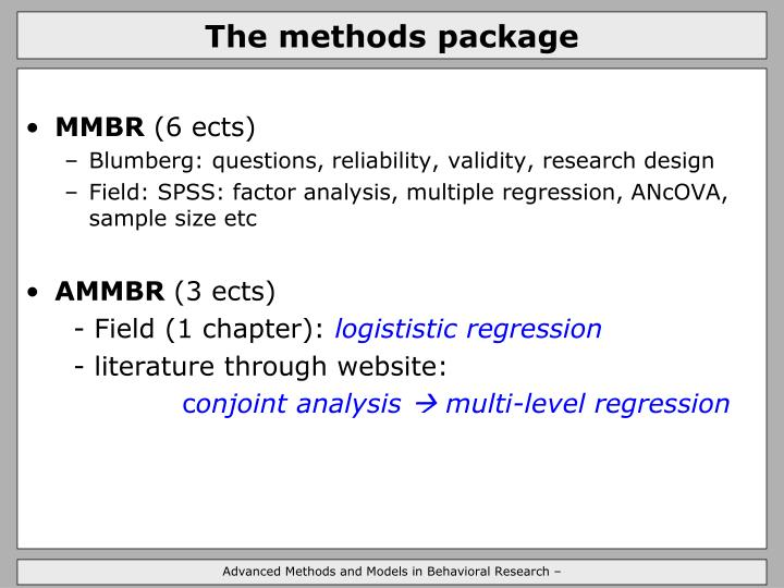 The methods package