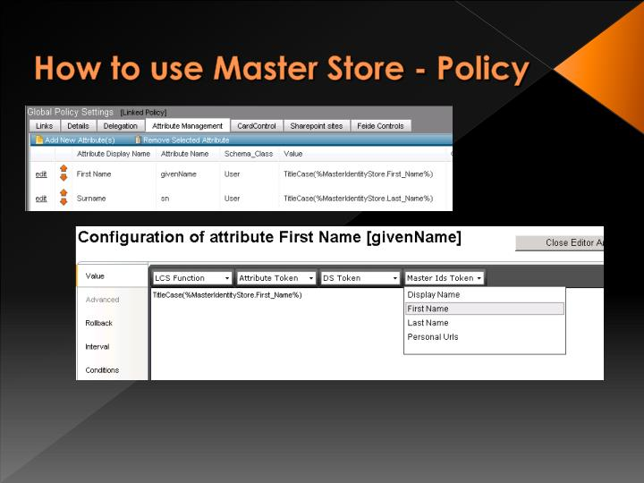 How to use Master Store - Policy