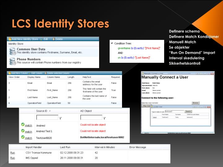 LCS Identity Stores