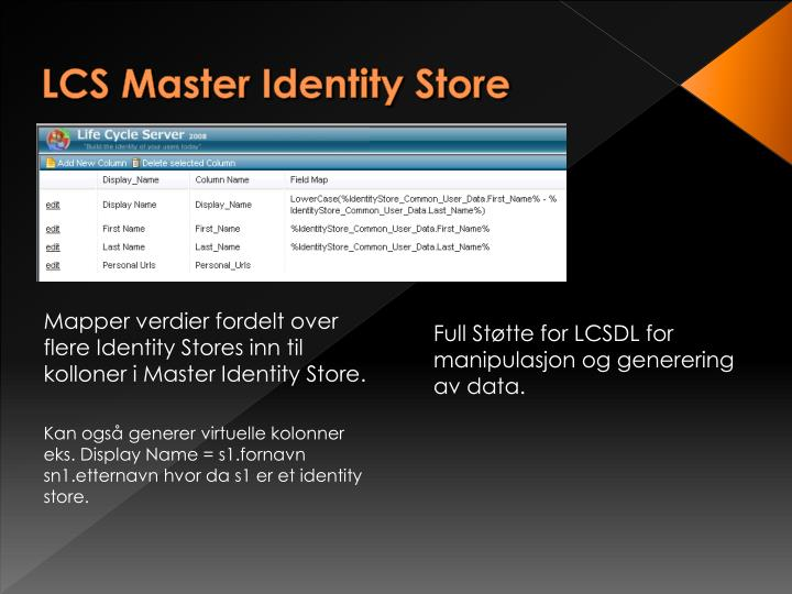 LCS Master Identity Store