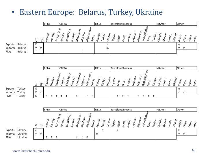 Eastern Europe:  Belarus, Turkey, Ukraine