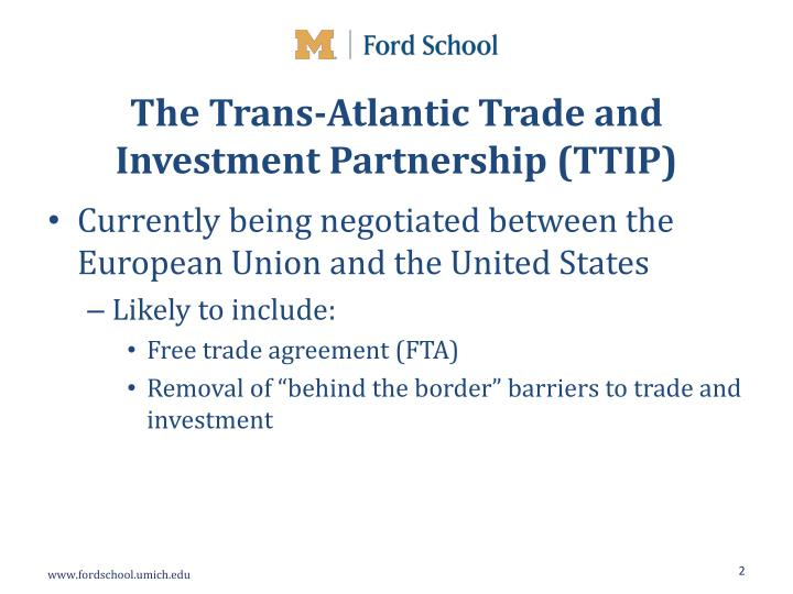 The trans atlantic trade and investment partnership ttip