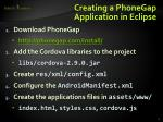 creating a phonegap application in eclipse