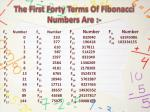 the first forty t erms o f fibonacci numbers a re