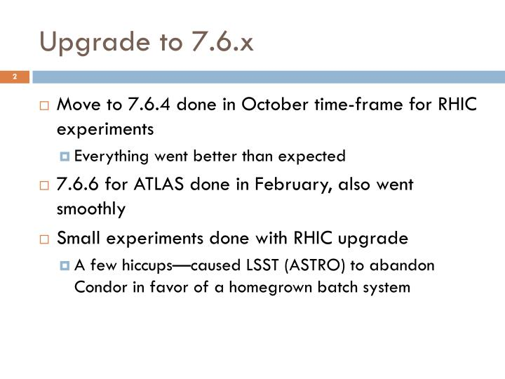 Upgrade to 7 6 x