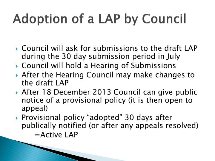 Adoption of a LAP by Council
