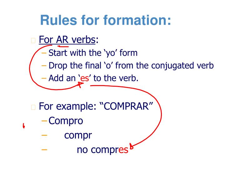 Rules for formation: