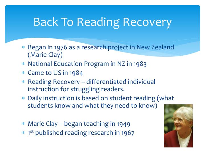 Back To Reading Recovery