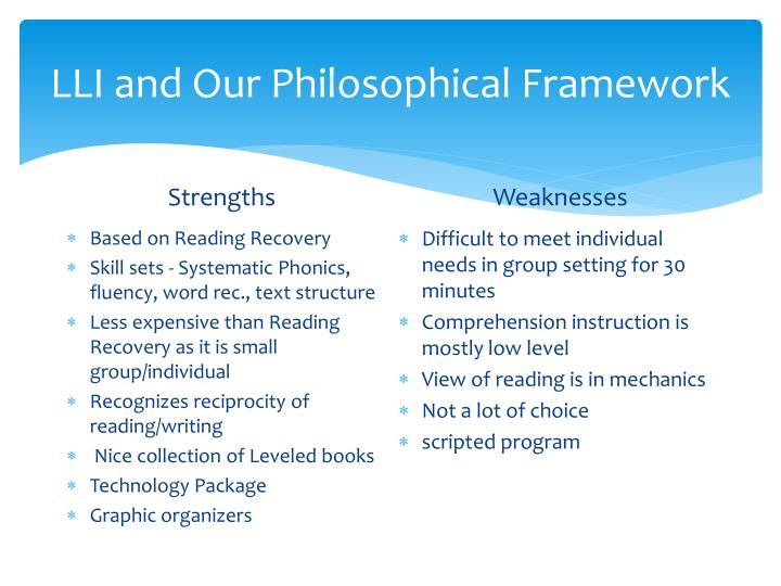 LLI and Our Philosophical Framework