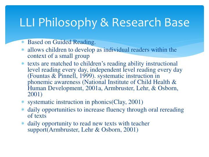 LLI Philosophy & Research Base
