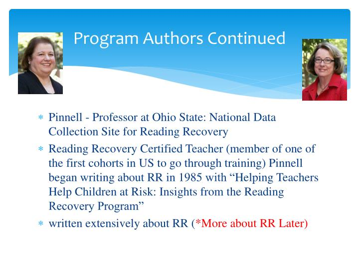 Program authors continued
