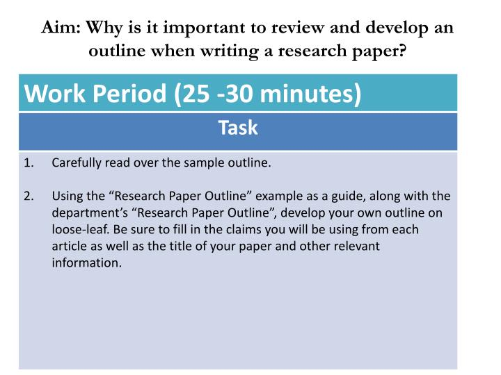 Aim: Why is it important to review and develop an outline when writing a research paper?