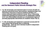independent reading and the newtown public schools strategic plan