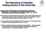 the importance of including reading practice in the school day