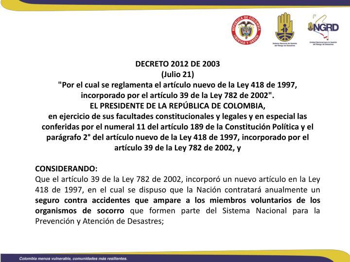 DECRETO 2012 DE 2003