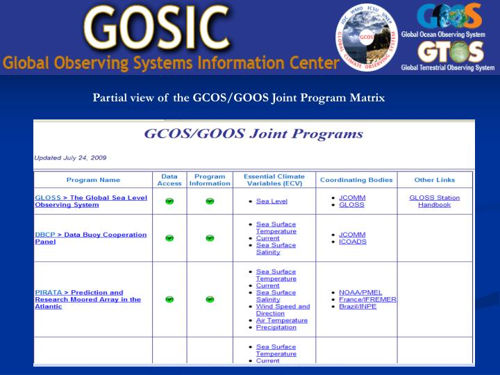 Partial view of the GCOS/GOOS Joint Program Matrix