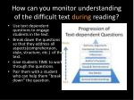 how can you monitor understanding of the difficult text during reading