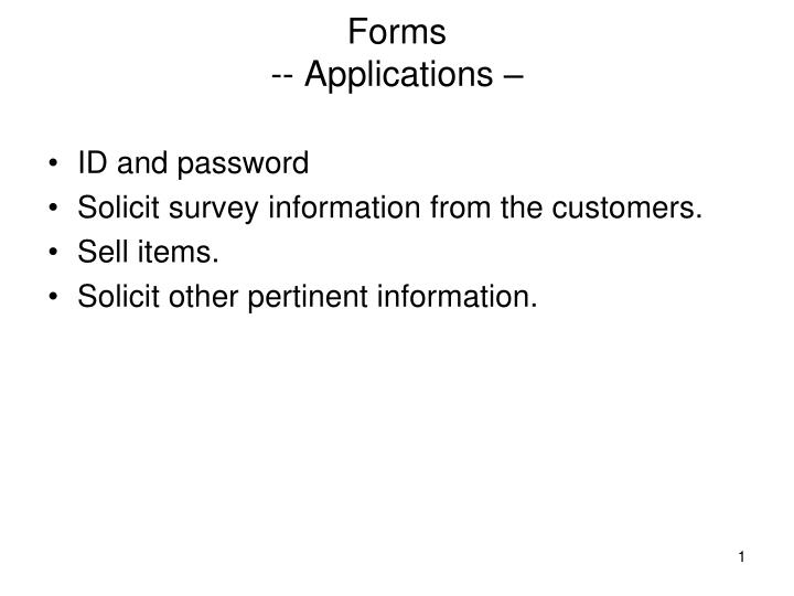 forms applications n.