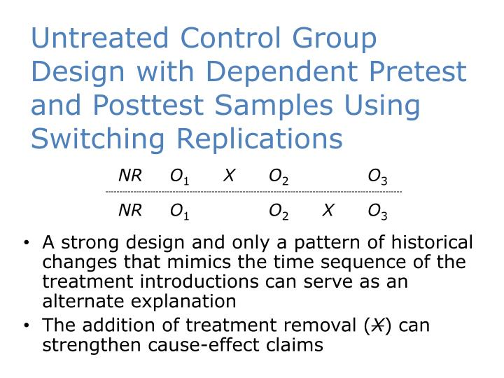 Untreated Control Group Design with Dependent Pretest and Posttest Samples Using Switching Replications