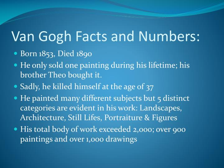 Van gogh facts and numbers