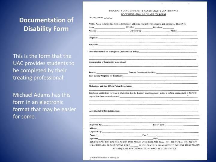 Documentation of Disability Form