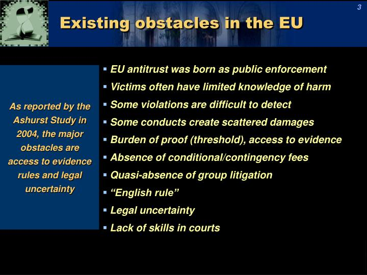 Existing obstacles in the eu