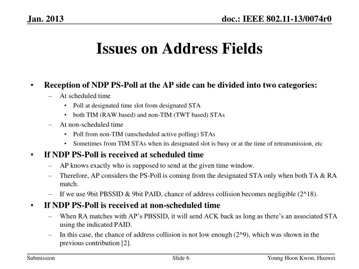 Issues on Address Fields