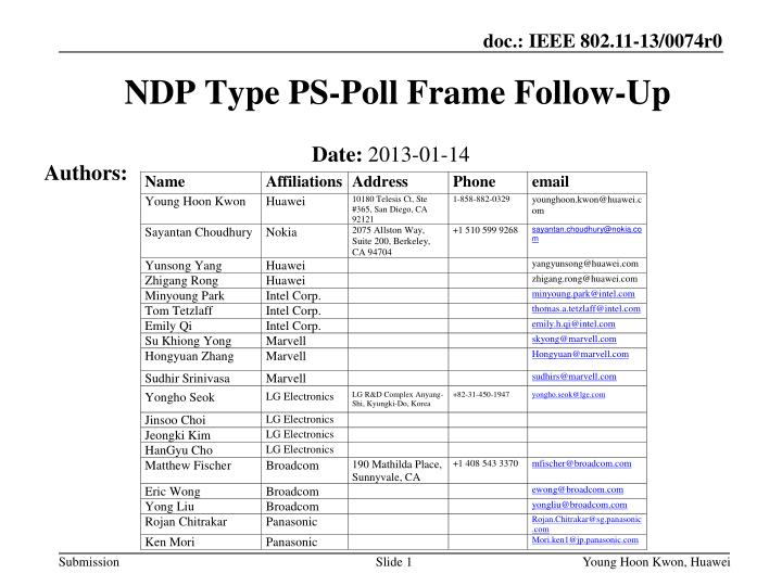 Ndp type ps poll frame follow up