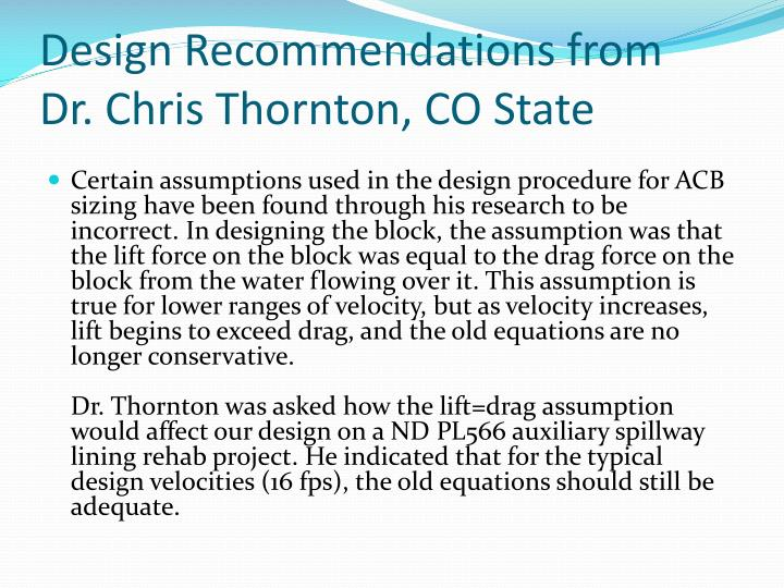 Design Recommendations from