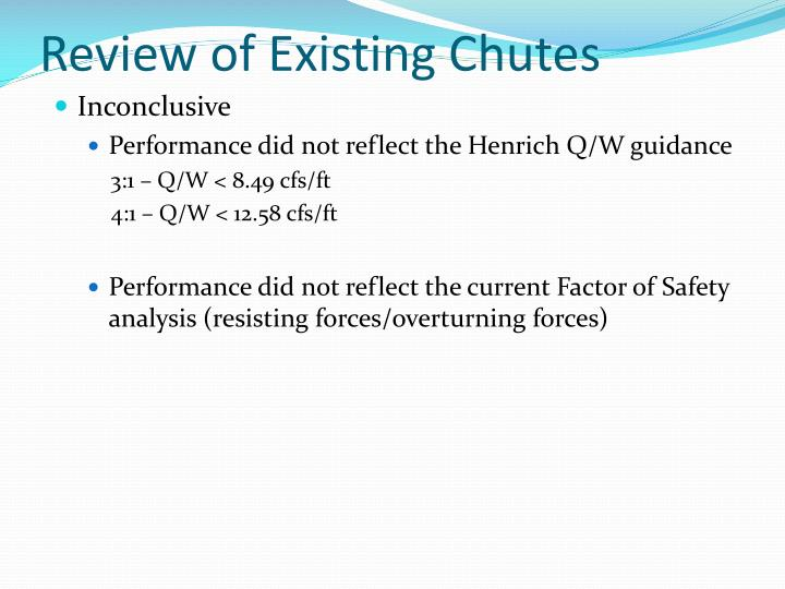 Review of Existing Chutes
