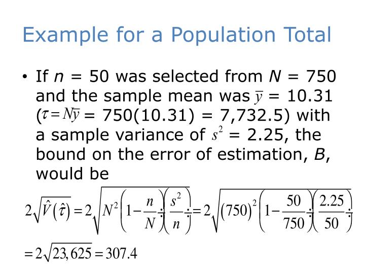 Example for a Population Total
