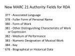 new marc 21 authority fields for rda1