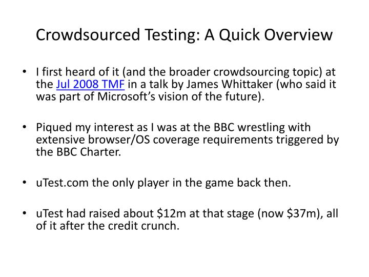 crowdsourced testing a quick overview n.