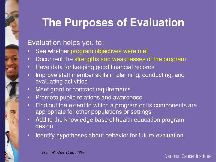 The Purposes of Evaluation