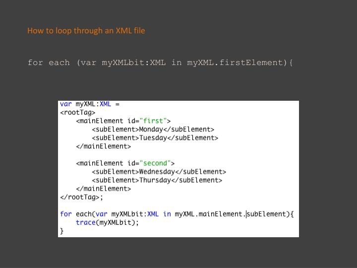 How to loop through an XML file