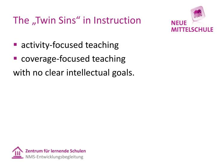 The twin sins in instruction