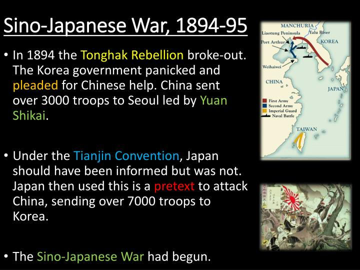 an analysis of the causes and impact of the sino japanese war of 1894 The origin of the second sino-japanese war can be traced back to the first sino-japanese war that lasted from 1894 to 1895 after the end of first sino-japanese war which made korea a part of japan, japan took her troops along a railroad from manchuria to korean ports-of-trade.