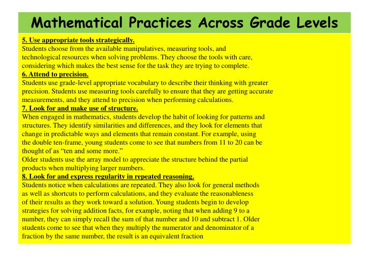 Mathematical Practices Across Grade Levels
