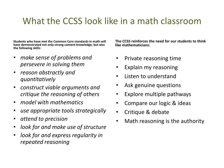 What the CCSS look like in a math classroom