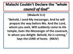 malachi couldn t declare the whole council of god