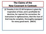 the claims of the new covenant in contrast