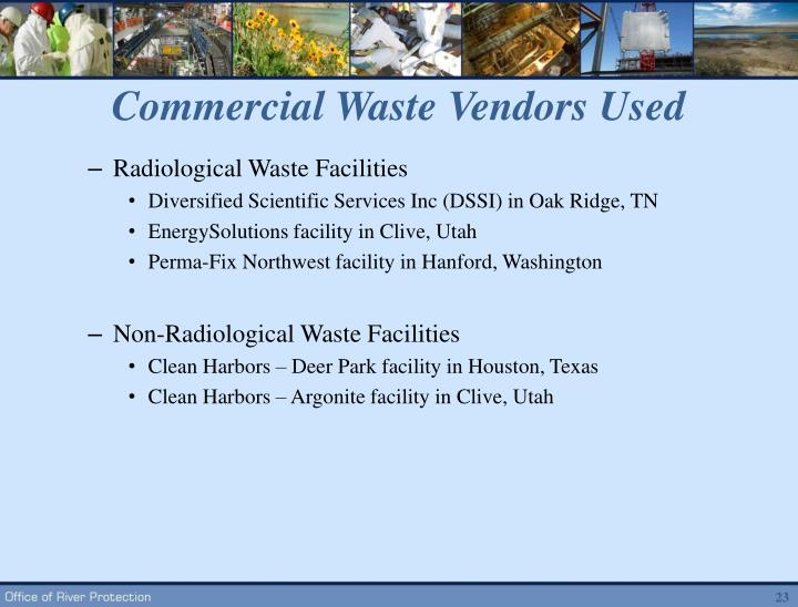 Commercial Waste Vendors Used