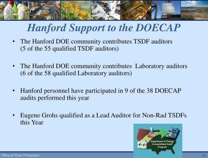 Hanford Support to the DOECAP