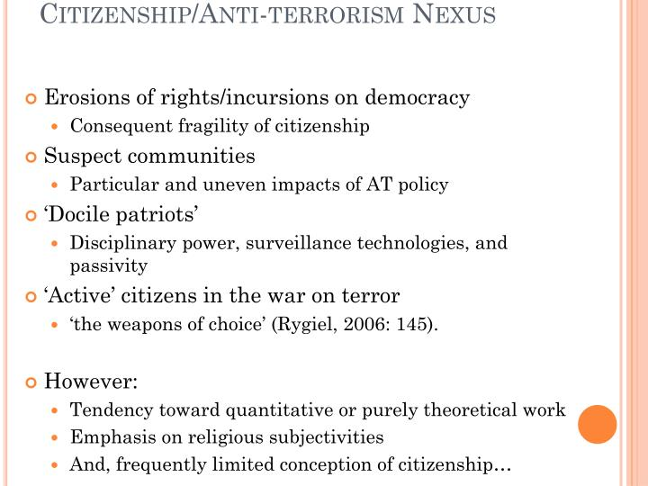 Citizenship anti terrorism nexus