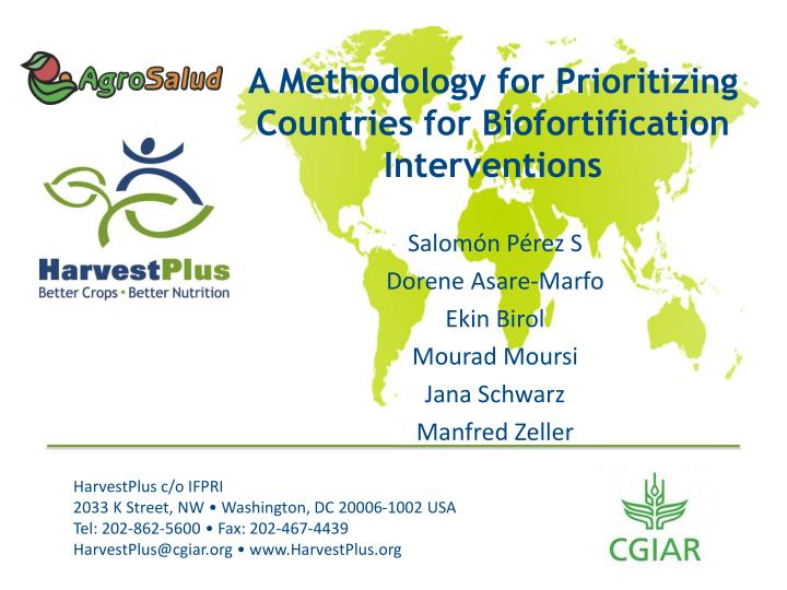 a methodology for prioritizing countries for biofortification interventions n.