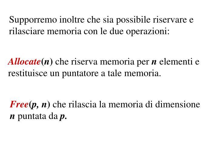 Supporremo inoltre che sia possibile riservare e rilasciare memoria con le due operazioni: