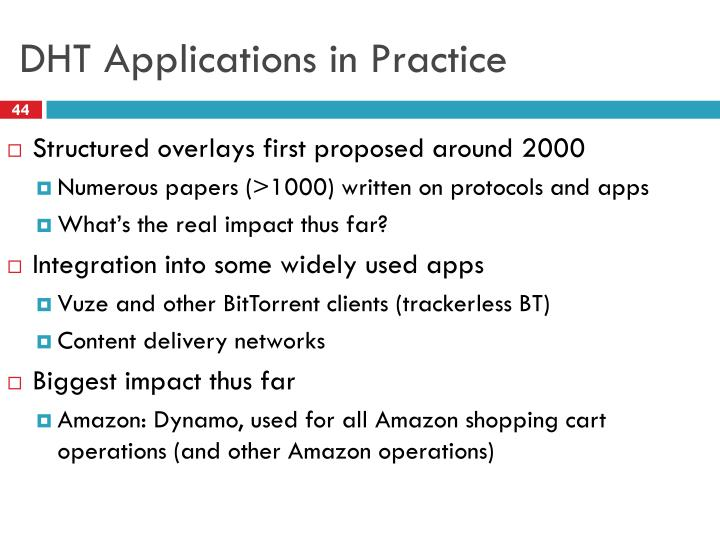 DHT Applications in Practice