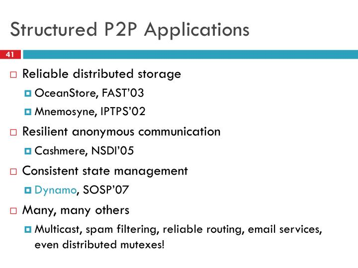 Structured P2P Applications