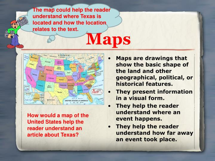 The map could help the reader understand where Texas is located and how the location relates to the text.